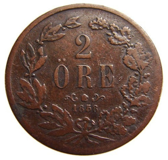 ANTIQUE 1858 over 150 years Old SWEDEN Oscar I two Ore Bronze coin High Grade