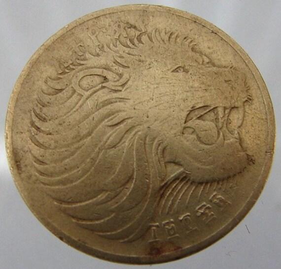 Vintage Ethiopia Lion Coin 10 Cent Mountain Nyala Nickel Brass