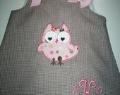 Brown Gingham Applique Owl A-Line Dress with Free monogram  Sz 3mo-4T