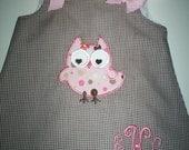 Brown Gingham Applique Owl A-Line Dress with Free monogram  Sz 3mo-4T