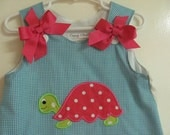 Turquoise Gingham A-Line Dress with Turtle Applique. Free Monogram and shoulder bows. Sz 3mo-4T