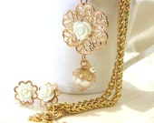 Golden romantic bridal filigree white roses cabochon set necklace and post earrings