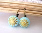 Aqua antique earrings filigree dangle