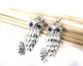 Owl dangle earrings silver plated
