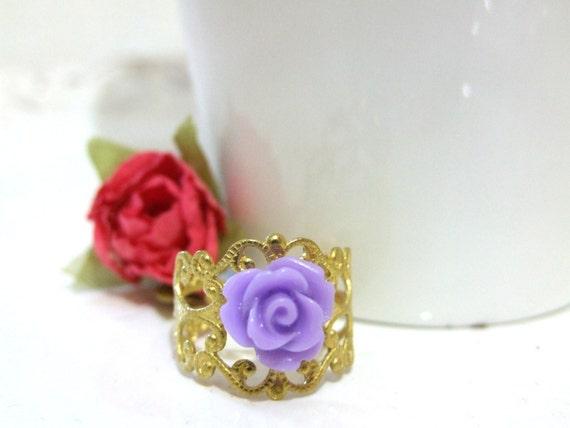 Romantic purple rose ring