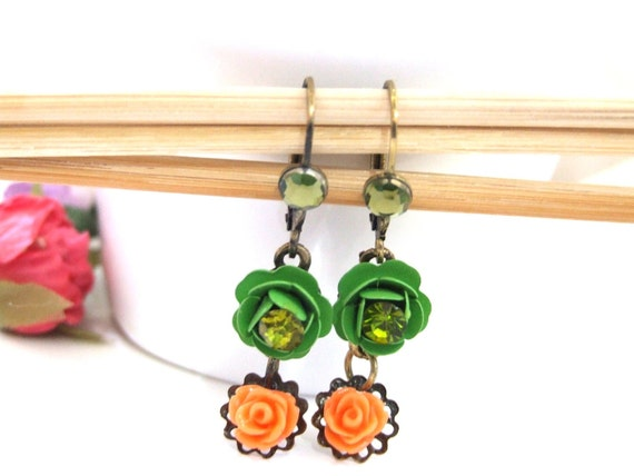 Green and orange rose flower antique dangle earrings