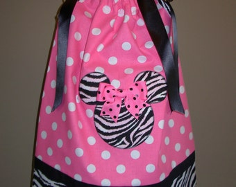 Minnie Mouse Pillowcase Dress Zebra and Pink Polka Dot (extra for personalization)