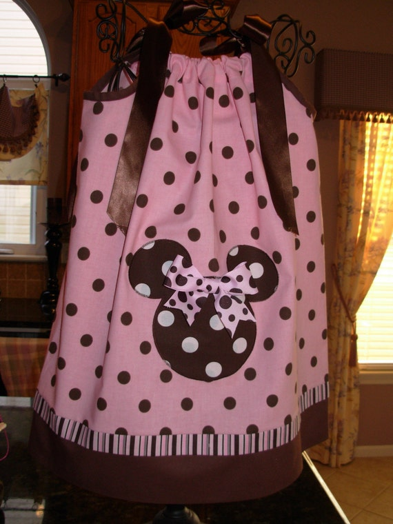 Minnie Mouse Pink with Brown polka dot Pillowcase Dress (extra for personalization)