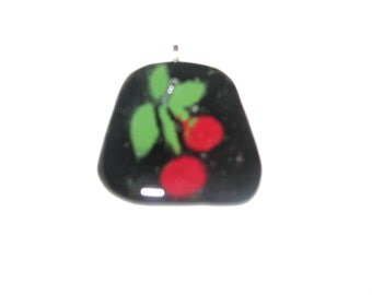 Fused Glass, Cherry design pendant by artist
