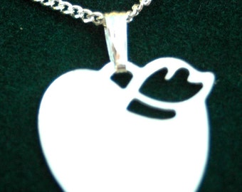 Silver plated Apple  Shape  pendant, with chain.