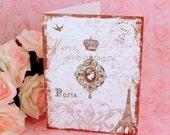 Parisian Paris Amore Merci Note Card Set / Chocolate with a hint of Aqua