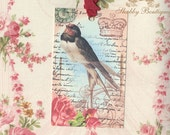 Paris Inspired Swallow and Pink Roses Gift Tags plus an Extra Yard of Vintage Seam Binding FREE