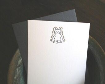 Meditating Cat (with a Golden Aura) stationery set - letterpress by Tiny Pine Press