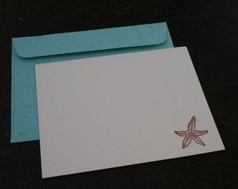 starfish letterpress stationery set - by tiny pine press