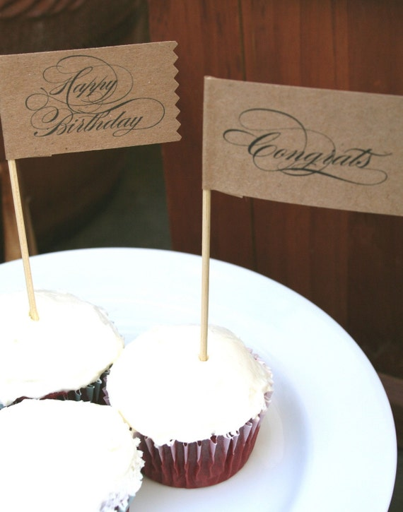 Cupcake flags - Happy Birthday  and Congrats