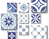SALE, Azulejos - 2x2 and 1x1 inch COMBO Square Tiles, Digital Collage Sheet, Download and Print JPEG Images