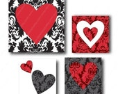 Queen Of Hearts, 1 inch Square Tiles, Digital Collage Sheet, Download and Print JPEG Images