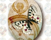 Time Flies 30x40mm Ovals for Pendants, Digital Collage Sheet, Download and Print Jpeg Images