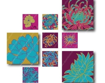 Bright Kiku Flowers, 1 inch Square Tiles, Digital Collage Sheet, Download and Print Jpeg Clip Art Images