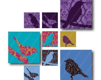 Bird Figures, 1 Inch Square Tiles, Digital Collage Sheet, Download and Print JPEG Images