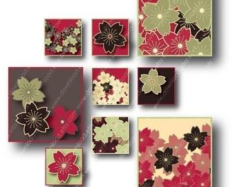 Sakura Asian 1 inch Square Tiles, Digital Collage Sheet, Download and Print Jpeg Clip Art Images