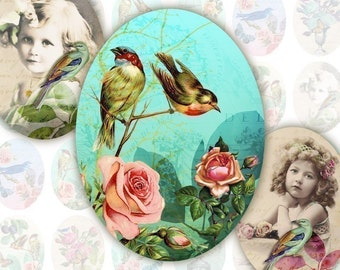 Eden 18x25mm Ovals for Pendants, Digital Collage Sheet, Download and Print Jpeg Images