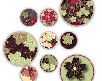Sakura Asian, 1 inch Circles, Digital Collage Sheet, Download and Print Jpeg Clip Art Images