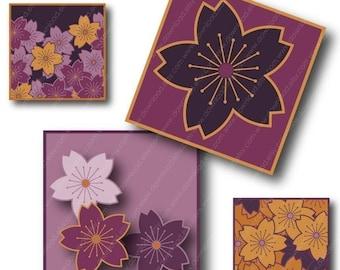 Sakura Flower, 1 inch Square Tiles, Digital Collage Sheet, Download and Print JPEG Images