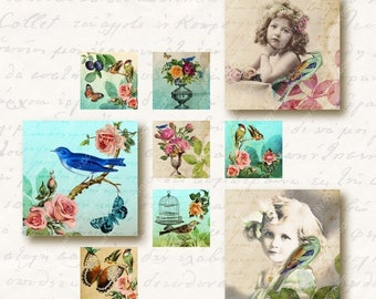 Eden 1 inch Square Tiles, Digital Collage Sheet, Download and Print Jpeg Images