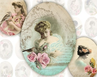 Ladies 30x40mm Ovals for Pendants, Digital Collage Sheet, Download and Print Jpeg Images