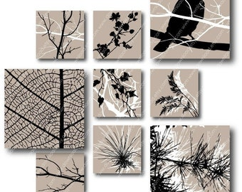 Autumn 1 inch Square Tiles, Digital Collage Sheet, Download and Print Jpeg Images
