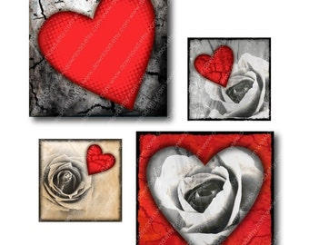 Hearts 1 inch Square Tiles, Digital Collage Sheet, Download and Print Jpeg Images
