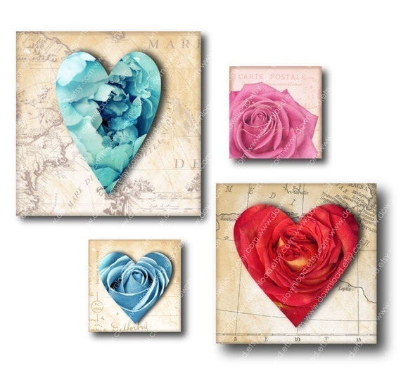 Blooming Hearts 1 inch Square Tiles, Digital Collage Sheet, Download and Print Jpeg Images