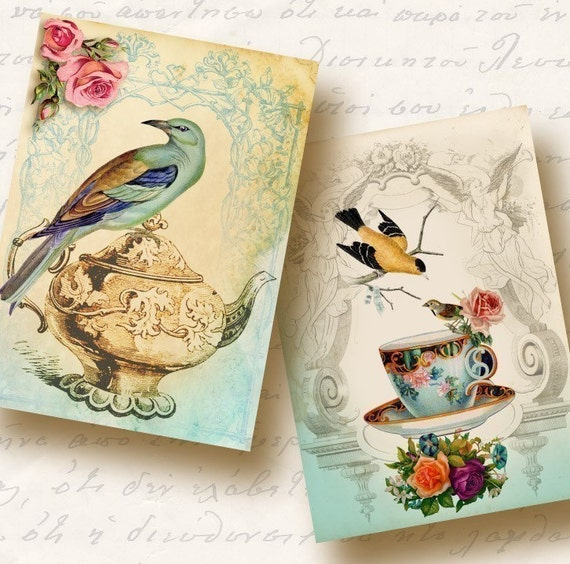 Tea Time Atc Aceo Tags, Digital Collage Sheet, Download and Print Jpeg Images