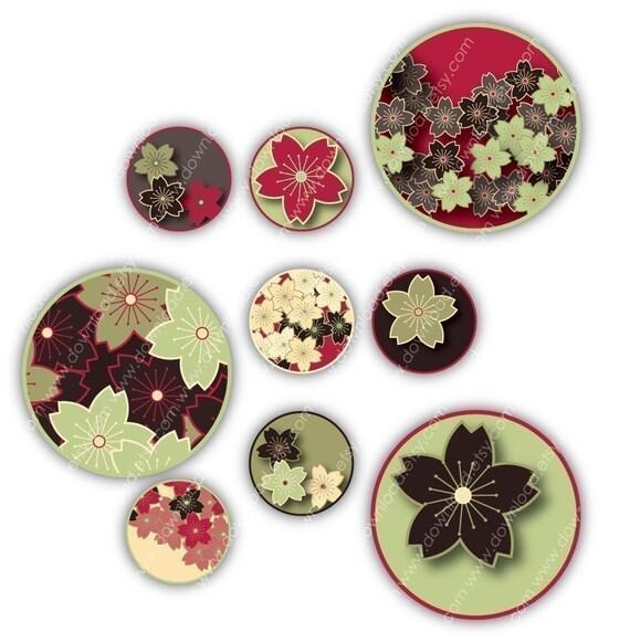 Sakura Asian, 1 inch Circles, Digital Collage Sheet, Download and Print Jpeg Clip Art Images