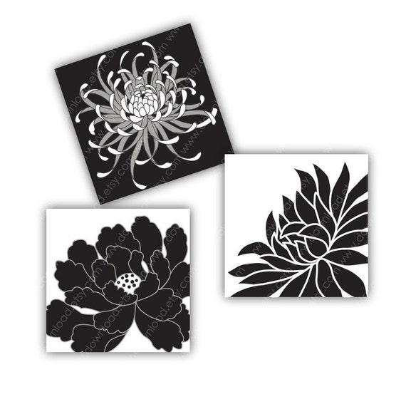 Black Peony 1 inch Square Tiles, Digital Collage Sheet, Download and Print Jpeg Clip Art Images