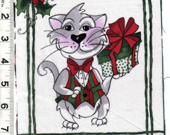 Loralie Christmas Kitty Cat quilt fabric One Block