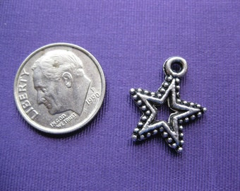 Star Charm Tibetan silver jewelry supply 5 pieces