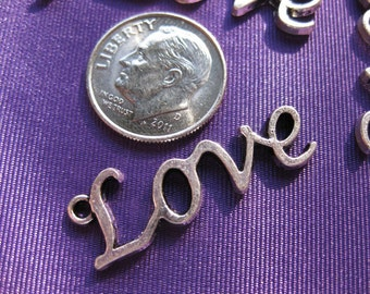 Love Charm Tibetan Silver Jewelry Supply 5 pieces