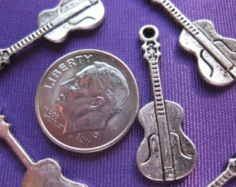 Guitar A001 Charm Tibetan Silver Jewelry Supply 5 pieces music instrument