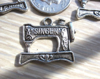 Singer Sewing Machine Charm 5 pieces Tibetan Silver Jewelry Supply