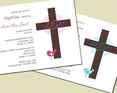 PERSONALIZED Bird and Cross Baptism or Christening Invitations BOY or GIRL (Set of 10)