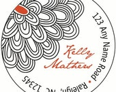 Vintage Dahlia Return Address Label Sticker (Set of 24)