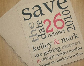 SET OF 10 CUSTOMIZED Eco-Friendly Save the Date Announcements Wedding Invitations