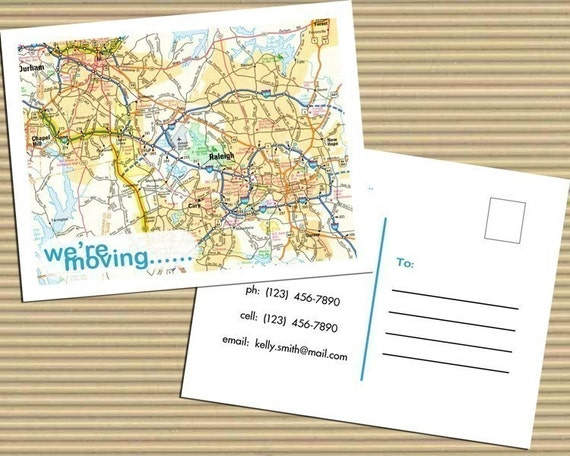 Personalized Map Moving Announcements Postcards (Set of 10)