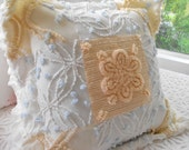 PP BOY OR GIRL VINTAGE CHENILLE PATCHWORK BED PILLOW