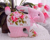 Spring Vintage Chenille And Vintage Quilt Bunny Rabbit Pillow With Bow