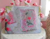 Vintage Chenille in Pictures16 x 20 Mounted Picture Wall Hanging Pink Spring Tulip