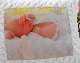 Vintage Chenille Reborn Baby Doll Fabric Square Nursery Pillow