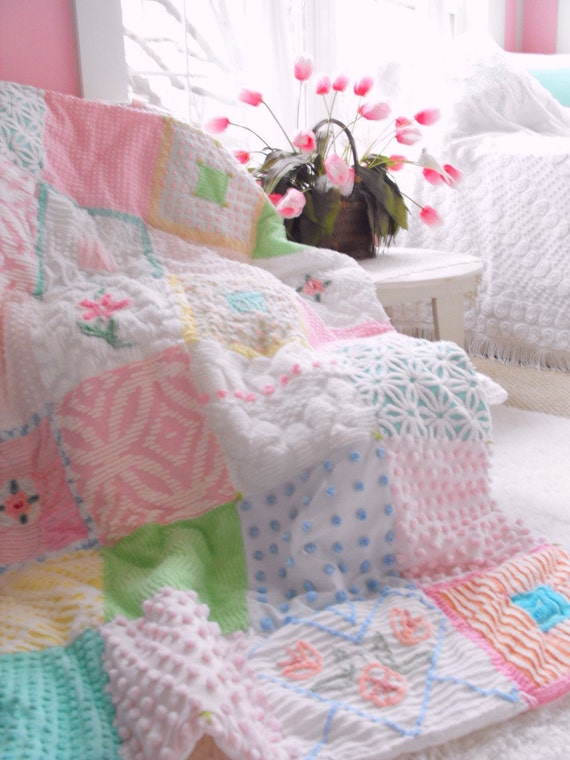 Vintage Chenille Patchwork Large Throw Size Quilt Frosting